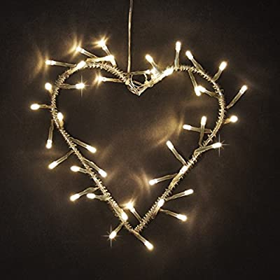 Decorative 40 LED's Battery Operated Metal Heart Wall Light - inexpensive UK light shop.