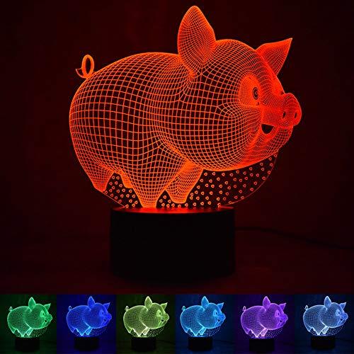 Tierisches Fettes Schwein 3D Nachtlicht Visuelle Taste LED Licht Smart Home Geschenk Tischlampe