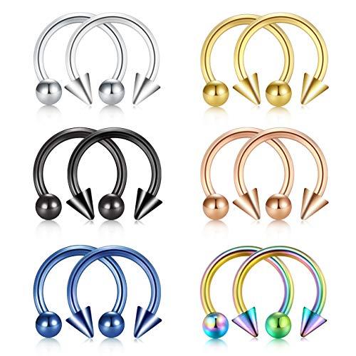 JFORYOU Horseshoe Shape Ear Helix Tragus Cartilage Hoop Stainless Steel Nose Septum Nose Rings Hoop Lip Eyebrow Piercing Jewelery 16G (1.2mm), 12mm Inner Diameter Ball and Spike Style