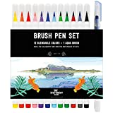 Stationery Island Brush Pen - Wasserfarben Pinselstift 12 Farben + 1 Wassertankpinsel -