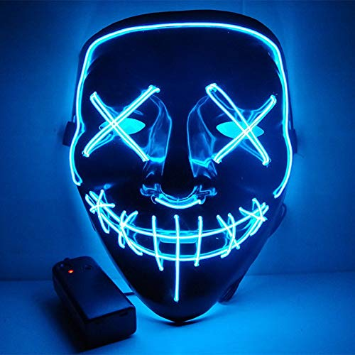 Urmagic LED Halloween Masken,Erschreckend LED Leuchten Maske,Für Festival,Cosplay,Halloween,Kostüm,Batterie Angetrieben(Nicht enthalten)