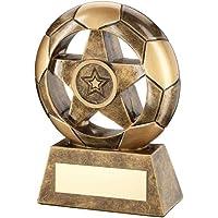 Star y premio de fútbol Wembley gama: latón efecto diseño de balones de fútbol premio con estrella en centro.