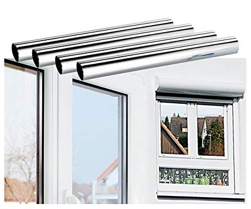 infactory Fensterfolie: 4er-Set Isolier-Spiegelfolie, Sicht-/UV-Schutz, selbstklebend,40x200cm (Wärmeschutzfolie)