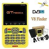GTmedia V8 Satélite Finder DVB-S/DVB-S2 Localizador Buscador de Satélite FTA Satélite Receptor TV Digital HD 3.5' LCD con Batería 3000mAh Incorporada