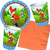 Reegen/Carpeta 37-teiliges Partyset * Kleiner Fuchs * für Kindergeburtstag und Motto-Party // mit Teller + Becher + Servietten + Deko // Tiere Waldtiere Wald