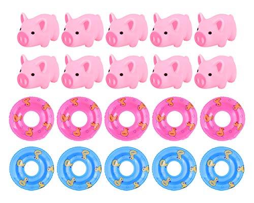 0 Gummi Rosa Schwein Baby Badespielzeug mit Mini Schwimmringe Gummi Schweine ()