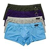 Herren String Unterwäsche Männer Tanga Transparent Slip Thong Unterhose 4er Pack