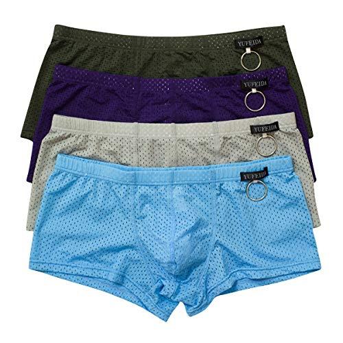 YFD Herren String Unterwäsche Männer Tanga Transparent Slip Thong Unterhose 4er Pack