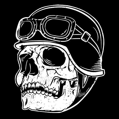 Fashionalarm Herren College Jacke - Totenkopf Biker   Varsity Baseball Jacket   Sweatjacke mit Totenschädel als Geschenk Idee für Biker & Rocker Schwarz / Weiß