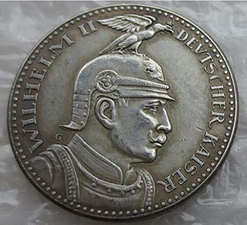 Rare Antique Ancient European Prussia German S. 5 Mark 1913 Wilhelm II Europäische Silver Color Coin Seltene Münze