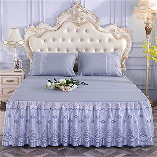 JWANS 1 stück Bett Rock goldene Prinzessin Spitze bettdecke rosa blau koreanischen Stil solide bettdecke volle königin -