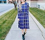 Smile Fish Damen Langarm Grid Tunika Midikleid Casual Empire-Taille Knielangen Kleider mit Taschen(Blau,XL) Vergleich