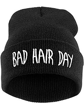 Cappello Berretto in Maglia Hip Hop alla Moda Cap Bad Hair Day per Inverno Autunno Primavera
