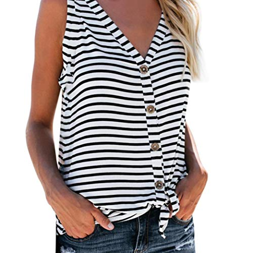 Womens Fashion V-Neck Button Cotton Stripe Sexy Vest Fashion Sleeveless T- Shirt, 8ffe426724