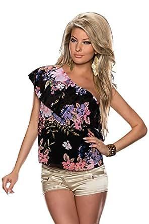5010 Fashion4Young Damen Legeré geschnittene Carmenbluse im Tunika-Stil Shirt Top verfügbar in 4 Farben (36/38, Schwarz Multicolor)