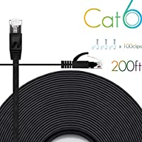 Cat 6 Ethernet Cable Flat Internet Network Cables with Cable Clips Cat6 Ethernet Patch Cable with Snagless Rj45 Connectors White Computer LAN Cable 200 feet Black 200-b