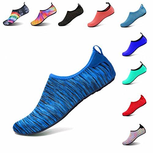 LK LEKUNI Unisexe Plongée Chaussures Respirants Séchage Rapide Semelles Colorées pour Nager Tous Les Sports Plage Et D'eau pour Femmes Hommes Enfants (BD_HengWenLan_37)