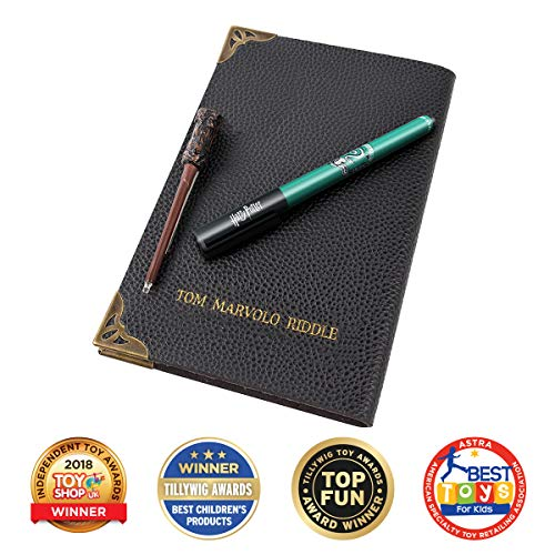 Wow! Stuff Collection Harry Potter Tom Riddle diario di Notebook, Slytherin House Pen, UV e Bacchetta