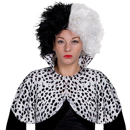 Zubehör Kostüm Cruella Deville - ILOVEFANCYDRESS BÖSE Dalmatiner Hunde Lady Cruella Style UMHANG ERHALTBAR IN 2 VERSCHIEDENEN GRÖßEN - DAS PERFEKTE KOSTÜM ZUBEHÖR FÜR EINE DEVILLE VERKLEIDUNG = 2 MAL Plus