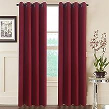 "aquazolax térmico aislado sólido cortinas opacas, tela, Rojo, 52""A x 84""L (132cm x 213cm), 2 Panels Set"