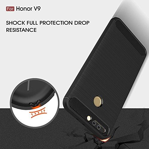 YHUISEN Huawei Honor V9 Case, Ultra Light Carbon Fiber Rüstung ShockProof gebürstet Silikon Griff Fall für Huawei Honor V9 ( Color : Black ) Black