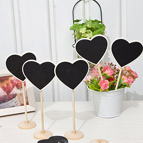 20 Packs Mini Wood Heart Shape Blackboard Charkboards Signs with Stand Mesage Board Place Cards Sign for Wedding Party Food Sign Photo Props