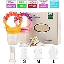 Pack de 2 chupetes de bebé, alimentador de frutas frescas para niños, juguetes de dentición para niños pequeños con un chupete, soporte de clip y cepillo de dientes, 3 piezas de repuesto