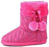Hausschuhe Damen Pantoffeln Stiefel Schuhe mit weichen Pom Poms Slippers Airee Fairee, Gr. EU 40-41 (L), Rosa