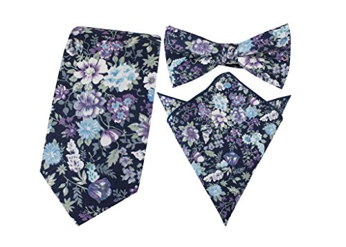 HYSENM Herren Krawatte Fliegen Einstecktuch schmal Blumen Baumwolle für Business Hochzeit Party Set, Blumen 14