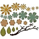 Sizzix Thinlits–Juego de troqueles 21pk–pequeño Tattered Floral por Tim Holtz, color plateado
