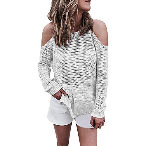 iHENGH Damen Herbst Winter Bequem Lässig Mode Frauen Rundhalsausschnitt Langarm aus Sholder aushöhlen Pullover lässig gestricktes Hemd(M,Weiß)