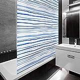 casa pura Design Duschrollo Blaue Streifen | Viele Größen | Schnelltrocknend | Deckenbefestigung mit Halbkassette | Halbtransparent, Blau Gestreift | 160x240cm (BxL)