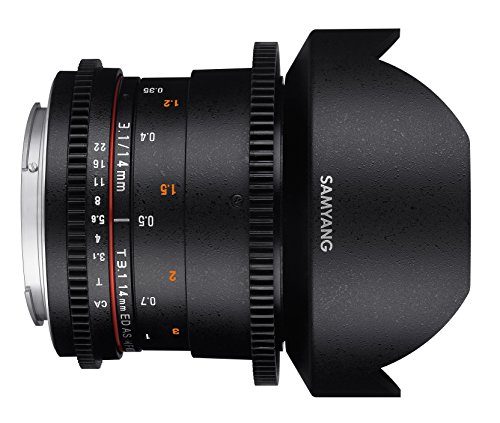 Cheap Samyang Lens Opening for Video VDSLR (Fixed Focal Length 14 mm T3.1 – 22 Ed as if UMC II), Black