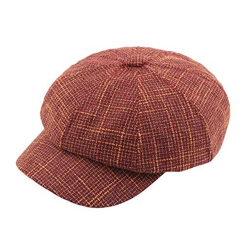 SHENTIANWEI Freizeit Wolle Baskenmütze Cap Herren Sales Cap Damen British Style Octangular Spring Hat Retro Einstellbare Checked Hat (Farbe : Maroon, Größe : 56-58CM) -