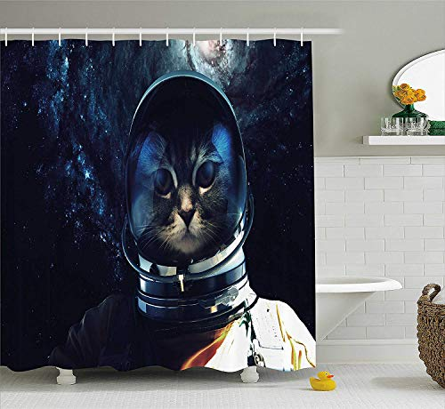 BUZRL Space Cat Shower Curtain, Astronaut Kitty Extragalactic Mission in Orbit Terestial Image, Fabric Bathroom Decor Set with Hooks, 60x72 inches, Dark Blue White and Orange -