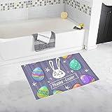 Wietops Frohe Ostern Grußkarte Logo Holz benutzerdefinierte rutschfeste Badematte Teppich Bad Fußmatte Boden Teppich für Badezimmer 20 X 32 Zoll