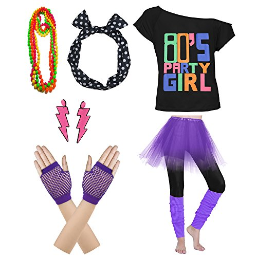 80s Party Girl T-shirt, Skirt and Accessories - many colours