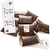 """'100Kleine regalo Cajas aspecto de madera marrón con adhesivo con precinto """"Schön dass du da bist Rojo con gris rayas blancas; sí Manualidades y rellenar; Caja 14,5x 10,5cm (+ 3cm de altura)"""