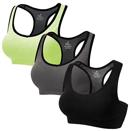CARETOO Sport BHS für Frauen Racerback Medium High Impact Sport Fitness Yoga 3 Packs, Schwarz+grau+grün, XL Fit 85DD 90D 90DD 95BC 95D