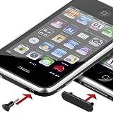Protection anti-poussière pour iPhone/iPod, entrée jack 3,5 mm et fiche 2er Set Noir - noir