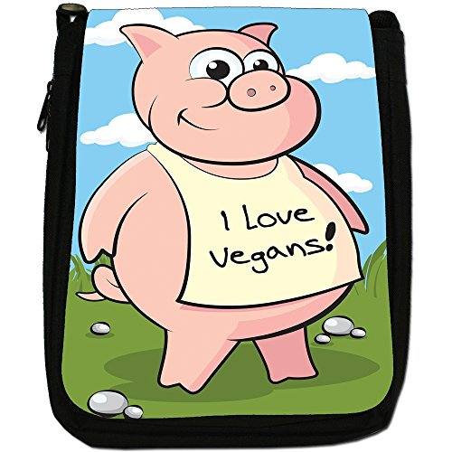 veganismo Vegan Loving Animali Medium Nero Borsa In Tela, taglia M Pig Wearing I Love Vegans