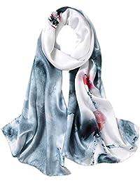 STORY OF SHANGHAI Femme Foulard 100% Soie Coloré Echarpe Léger Elégant  Coupe Manuel Meilleur Cadeau 740356cdd48