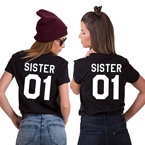*Best Friends T-shirt Damen Half Heart Pattern Sommer Tops Mädchen Kurzarm 2 Stücke (Sister-L+S, Schwarz-sister)*