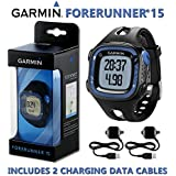 Garmin Forerunner 15 GPS Running Watch Smart Activity Fitness Tracker - Large Black Blue 2 Charging Data Connect Cables Large