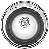 Runde Edelstahl Spüle RD2 Rundbecken Spülbecken Edelstahlspüle Einbauspüle + Großes Zubehör Mikrogenoppt Kratzfest Küchenspüle / Küchen Spüle / Einbau Spüle + Großes Zubehör Mikrogenoppt Kratzfest NEU