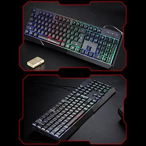 Gocheer Beleuchtet Bunt Tastatur 104 QWERTY USB RGB Gaming Tastatur Hintergrundbeleuchtung LED Regenbogen Wasserdicht Ergonomisch Tastatur für Computer PC Laptop Dell Mac Notebook Lenovo HP - 5