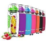 willceal Wasserflasche mit Fruchteinsatz 945 ml -Hochwertig und beständig - Groß, BPA-frei, aus Tritan - Aufklappbarer Deckel mit Tragegriff - Auslaufsicheres Design