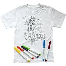 Disney Camiseta Elsa & Olaf para Pintar, con 6 Pinturas (5-6 años