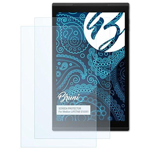 Bruni Schutzfolie für Medion LIFETAB S10351 Folie, glasklare Bildschirmschutzfolie (2X)