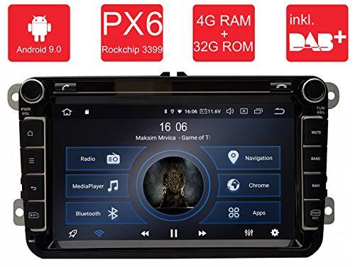 M.I.C.® AV8V5 Android 9 Autoradio Naviceiver Moniceiver Navigation: PX6 RK 3399 4G+32G 8 Zoll IPS Bildschirm DAB+ Digitalradio Bluetooth USB Mirrorlink GPS CAM Canbus für Seat Skoda Volkswagen (Antenne 3 Wlan)